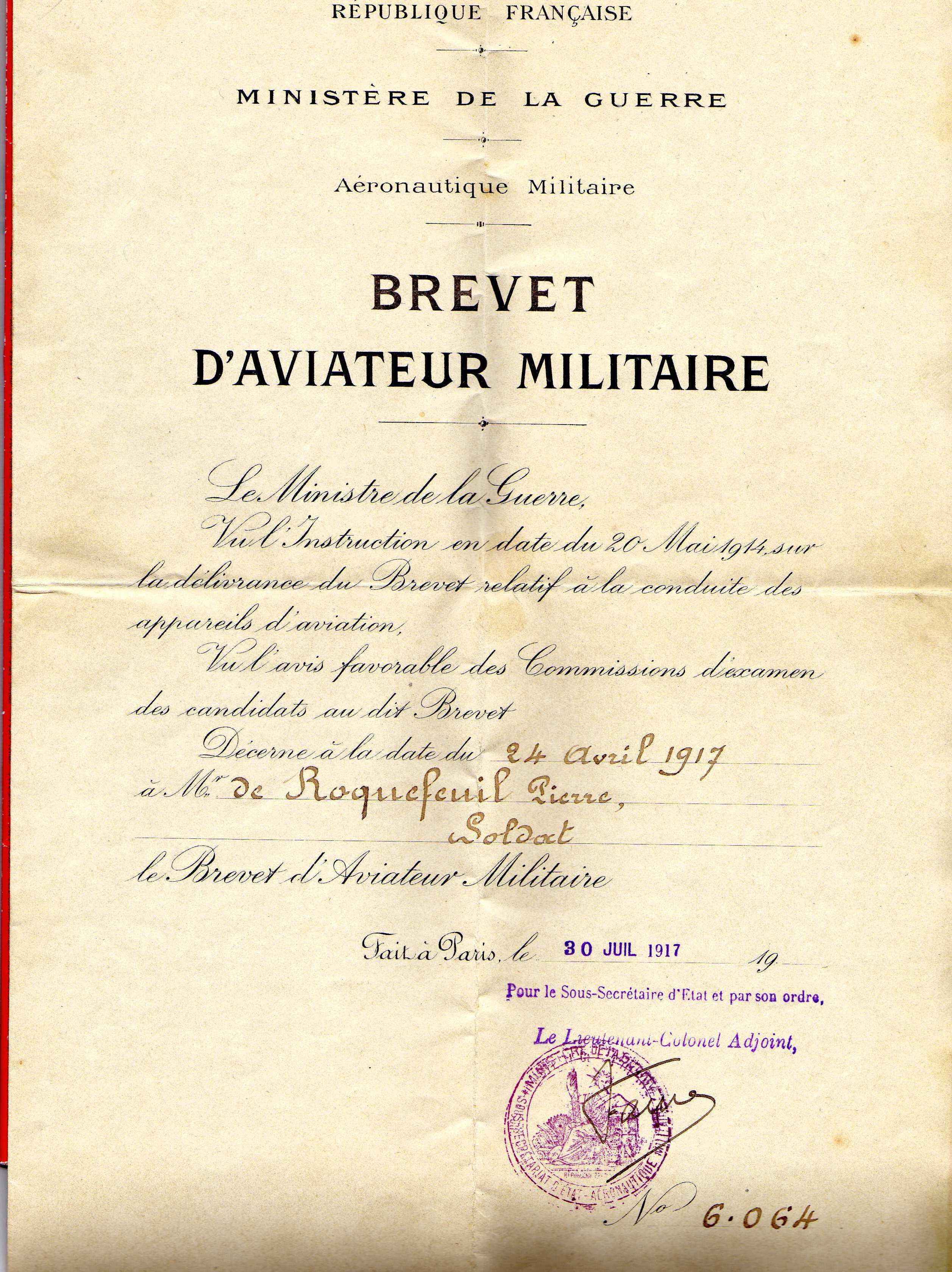 Brevet de Pierre de Roquefeuil, pilote de Spad