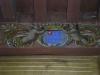 Poutre ornée des armoiries Roquefeuil avec mention de l'appartenance à l'ordre de Malte