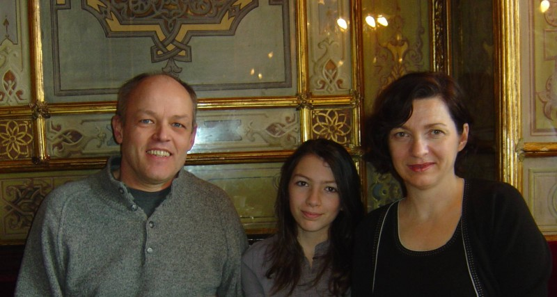 Christophe, Catherine et Maguelone au café Florian à Venise (février 2009).