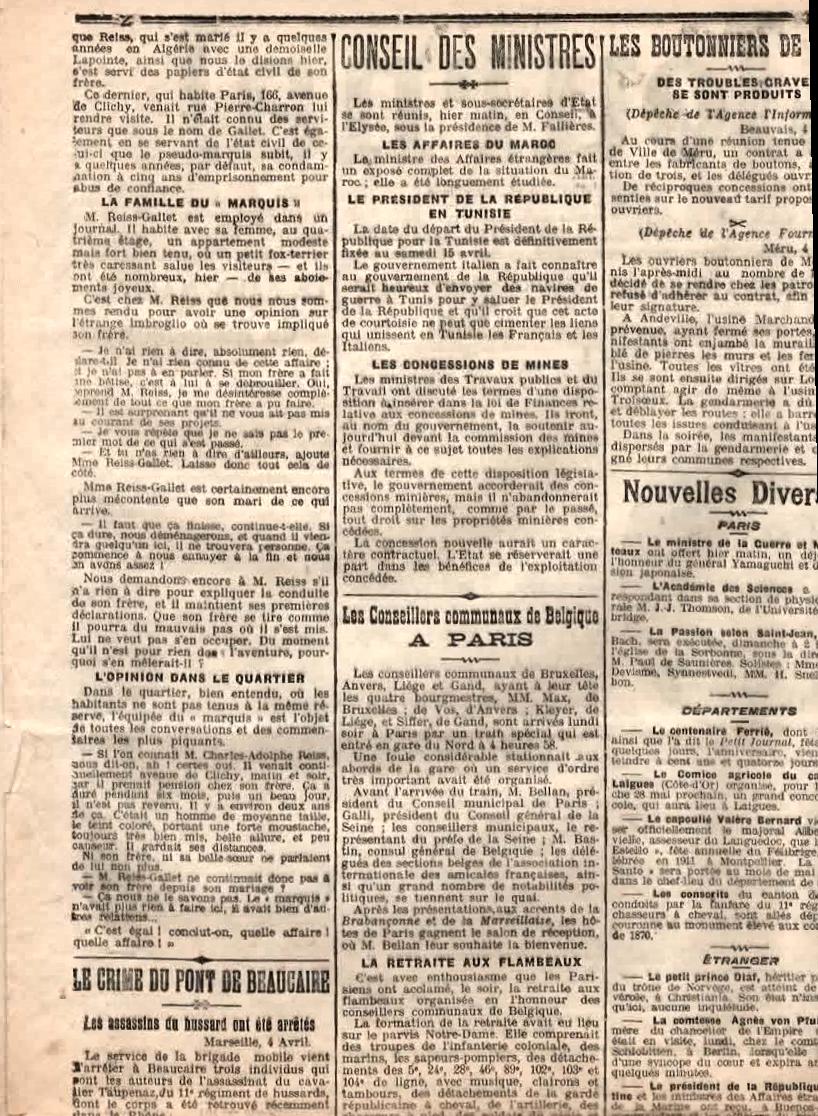 Le petit Journal - mercredi 5 avril 1911- Le Faux marquis de Roquefeuil - page 2