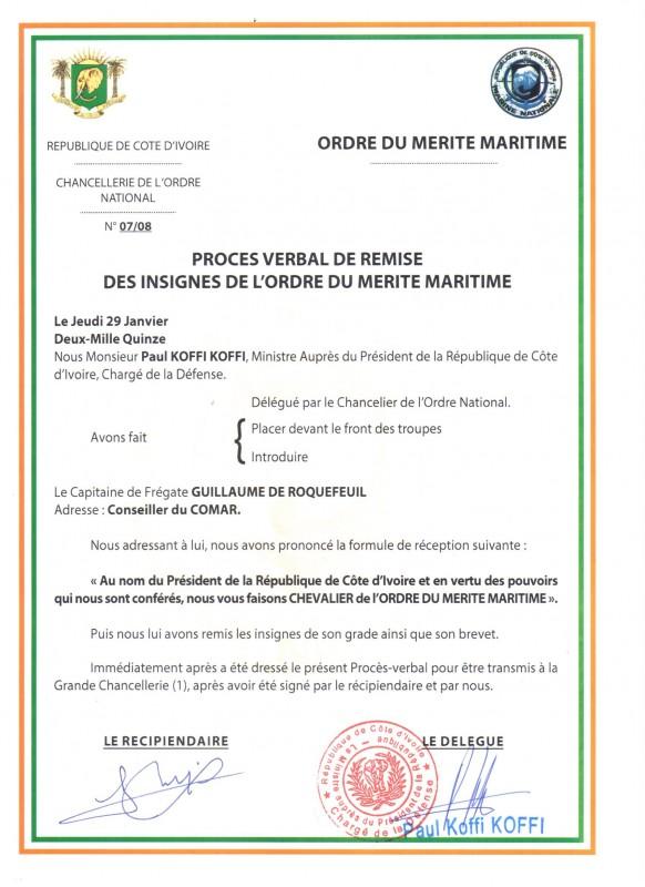 20150128 PV Mérite Maritime Ivoirien